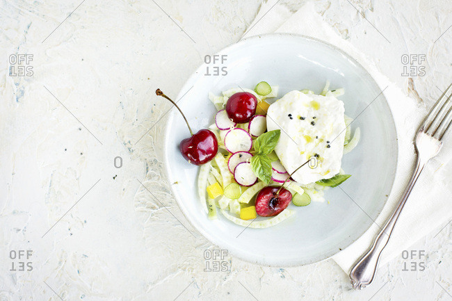 Cherry Burrata Salad served with a Lemon Vinaigrette and Ros� Wine.  Photographed on a off white/white plaster background.