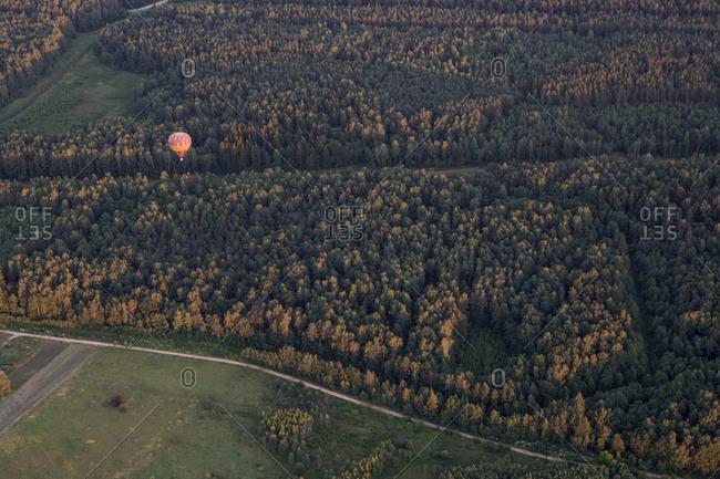 Air balloon on landscape