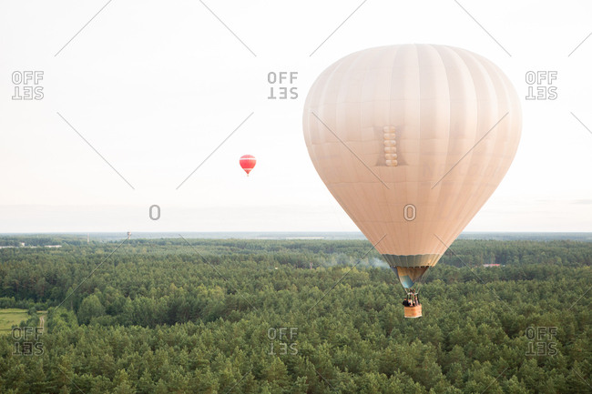 Air balloons on landscape