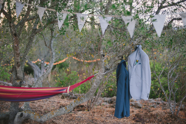 Suit jackets hanging from tree in Moncarapacho, Portugal
