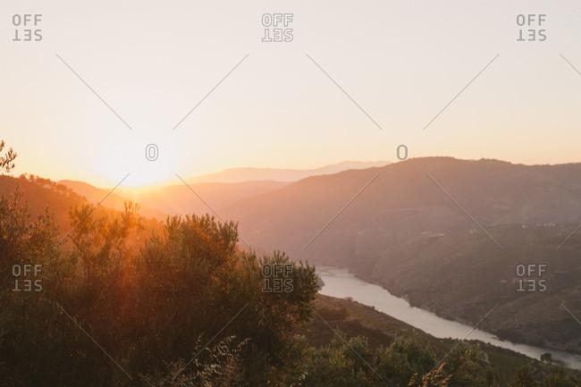 Sunrise over the Douro River in Mesao Frio, Portugal