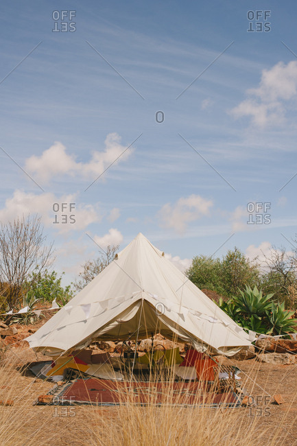 Tent set up in rural Moncarapacho, Portugal