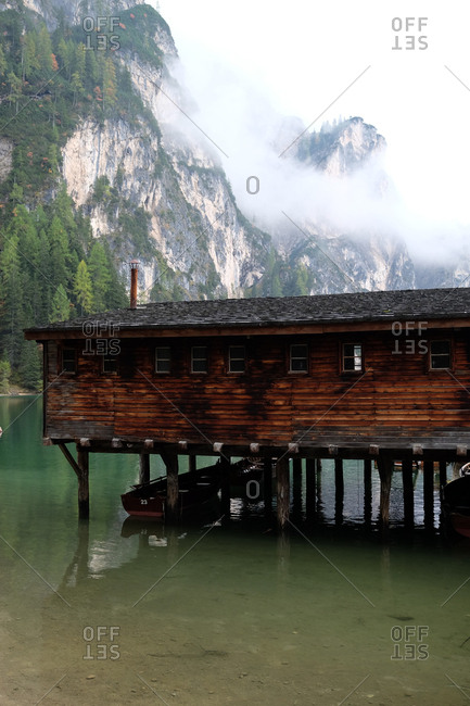 A boathouse on the lake in the Dolomites