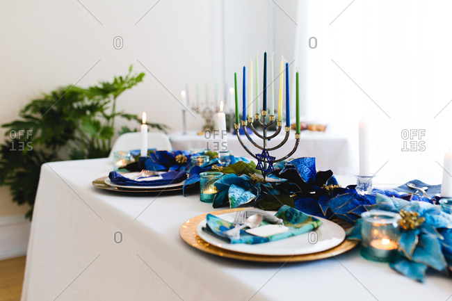 Menorah on a Chanukah table