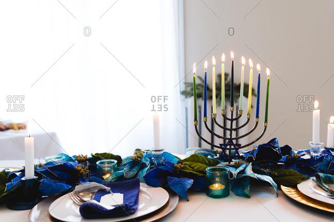 Menorah on Chanukah table
