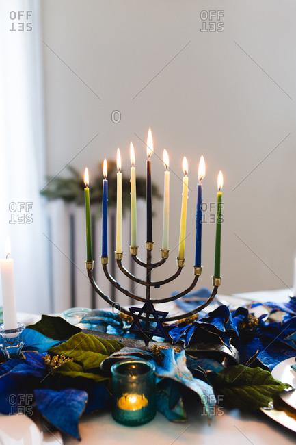 A menorah on Chanukah table