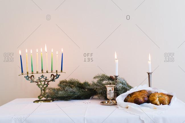 A Chanukah table setting