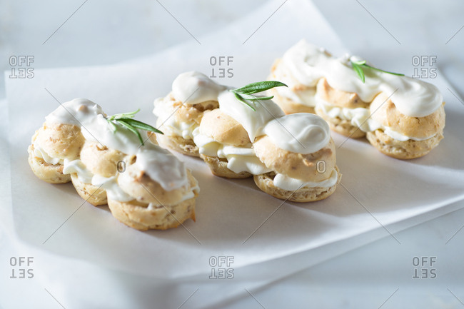 Three rosemary eclairs