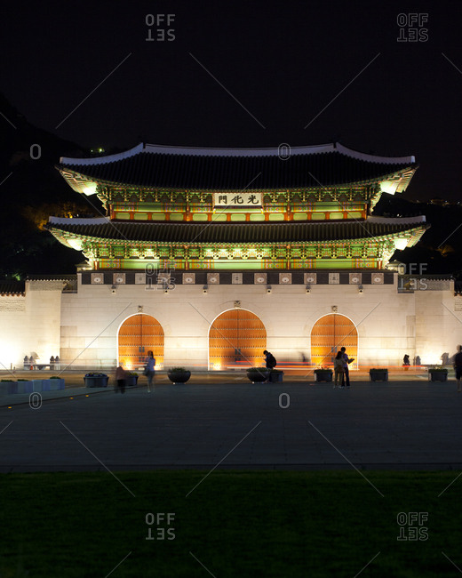 The facade of Gyeongbokgung Palace at night, Seoul, South Korea