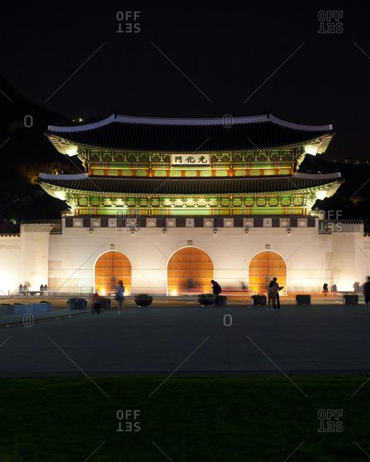 The facade of Gyeongbokgung Palace at night, Seoul, South Korea