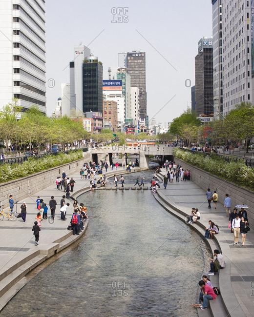 Seoul, South Korea - April 28, 2012: Cheonggyecheon in downtown Seoul, South Korea