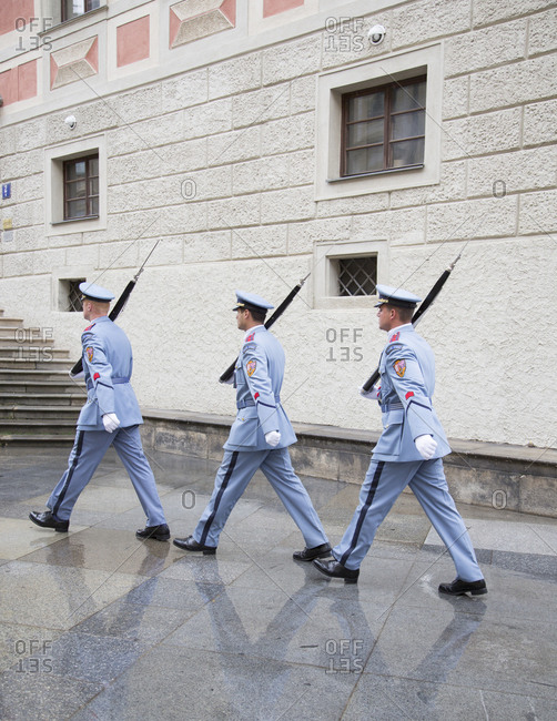 Prague, Czech Republic - August 31, 2014: Changing of the guard at the Prague Castle, Prague, Czech Republic