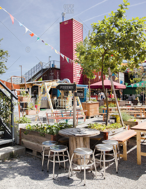 Zurich West, Switzerland - June 7, 2014: Outdoor tables at Frau Gerolds Garten in Zurich-West, Switzerland