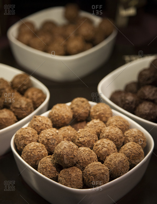 Bowls filled with truffles