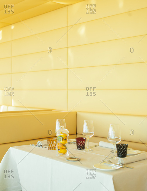 Zurich West, Switzerland - January 7, 2014: The interior of Clouds, a restaurant on the 35th floor of Prime Tower in Zurich West, Switzerland
