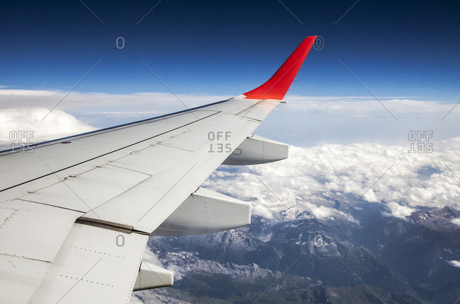 View of the Alps from an airplane
