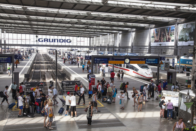 Munich, Germany - August 3, 2017: Central Station (Hauptbahnhof)