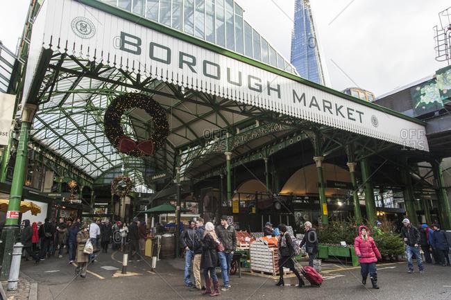London, UK - December 1, 2013: Borough Market during Christmas Time