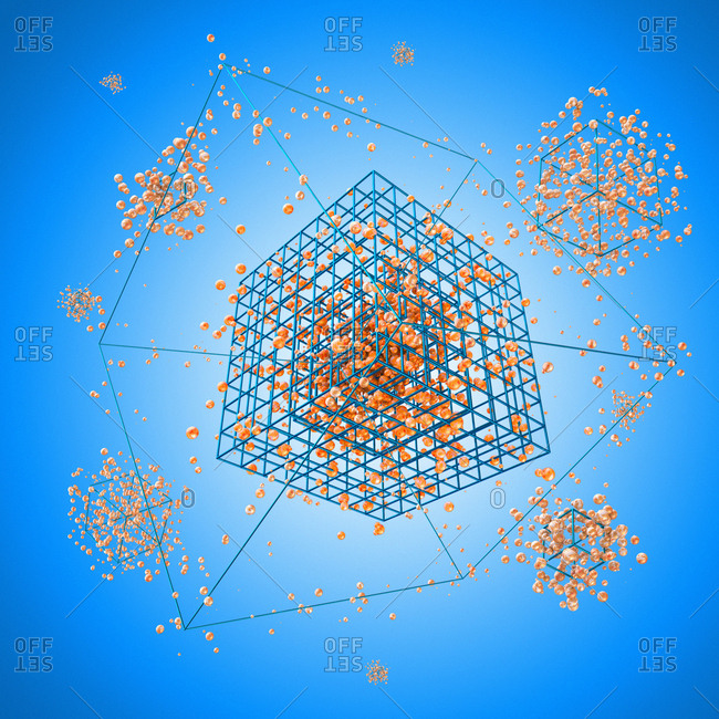 Atoms against blue background, illustration