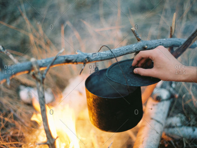 Pot cooking on campfire