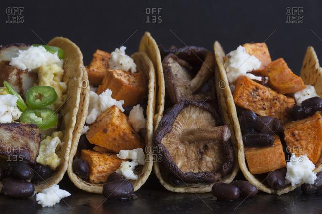 Breakfast tacos in studio shot