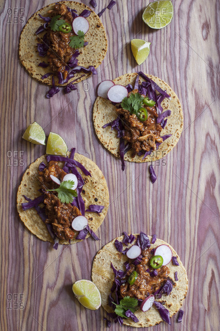 Tacos with radishes from above