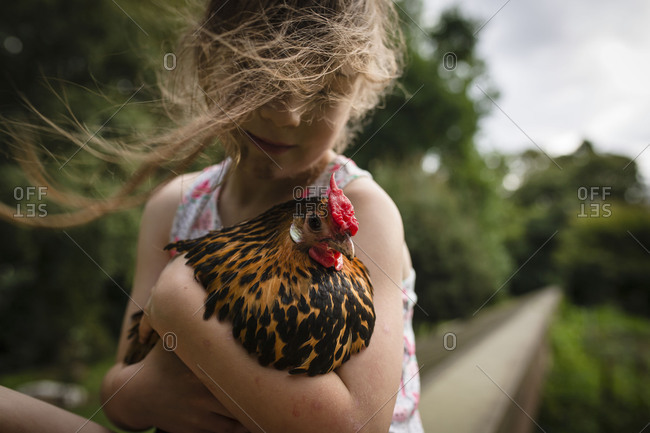 Girl holding orange and black chicken
