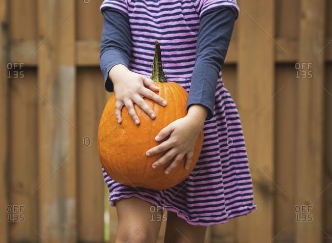 Girl holding pumpkin on leg
