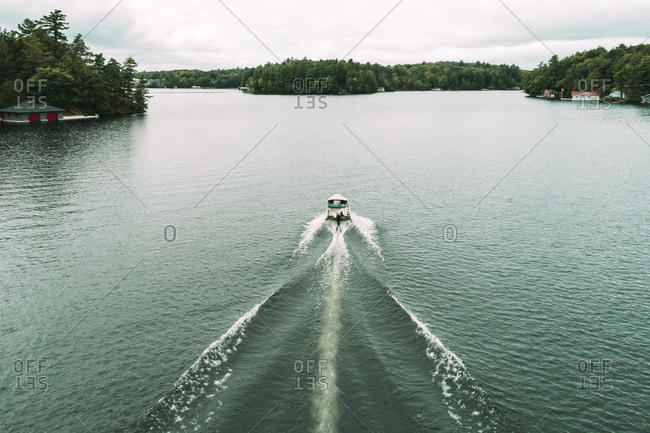 High angle view of motorboat on Lake Rosseau