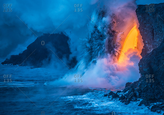 Lava falling from sixty feet creates an explosion from the heat and pressure of super heated water.