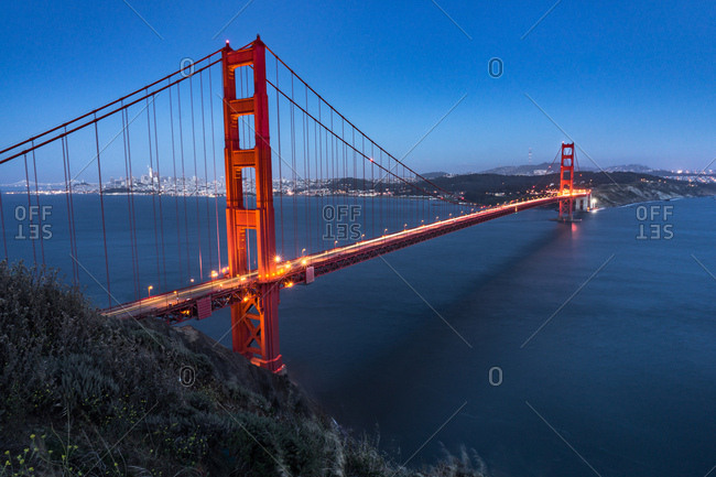 View of the Golden Gate Bridge at dusk in San Francisco, California
