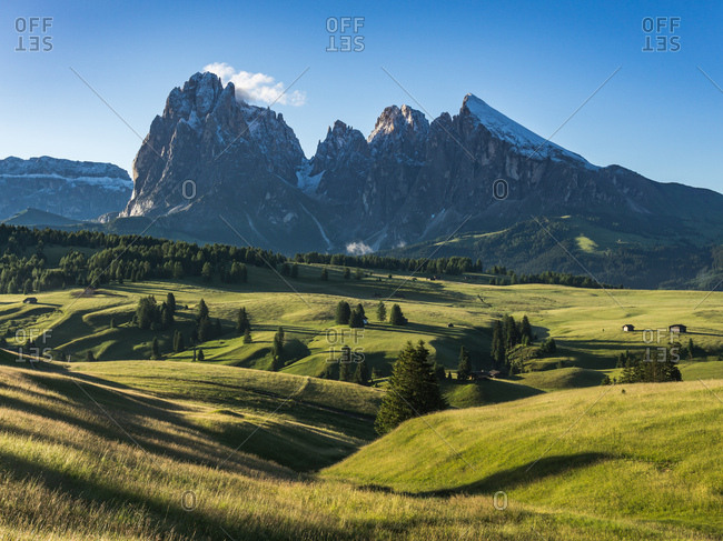 Sunrise over the Dolomites mountains in South Tryol, Italy