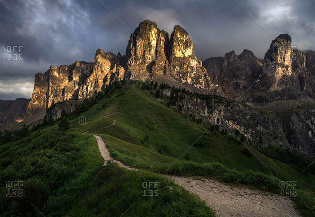 Dark clouds over Gardena Pass in the Dolomites region in South Tyrol, Italy