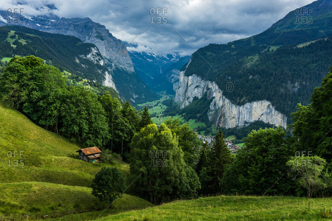 Landscape of the Swiss Alps in Lauterbrunnen, Switzerland