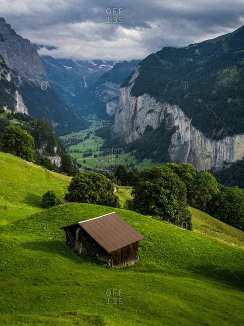 Hillside house in the Swiss Alps, Lauterbrunnen, Switzerland