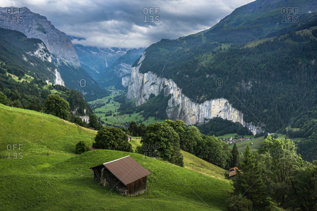 Landscape of a valley in the Swiss Alps, Lauterbrunnen, Switzerland