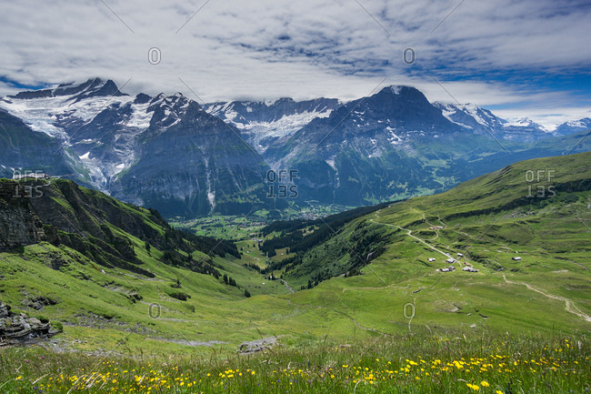 Cloudy sky over the Swiss Alps in Grindelwald, Switzerland