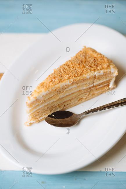 Slice of layered dessert