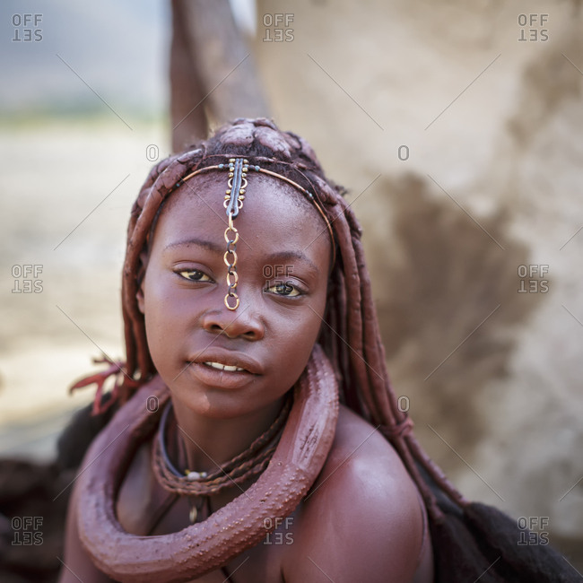 Namibia - July 11, 2015: Himba woman in a village at Epupa Falls