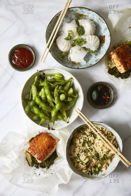 Small plates of Asian cuisine