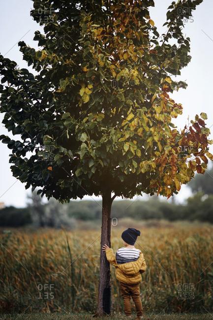 Boy standing next to tree