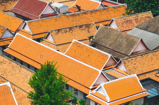 Tiled roofs seen from above