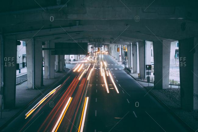 Blurred headlights in underpass