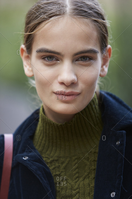 LONDON - 18 SEPTEMBER, 2017: Head and shoulders portrait of fashion model Nina Marker, Day 4, London Fashion Week.