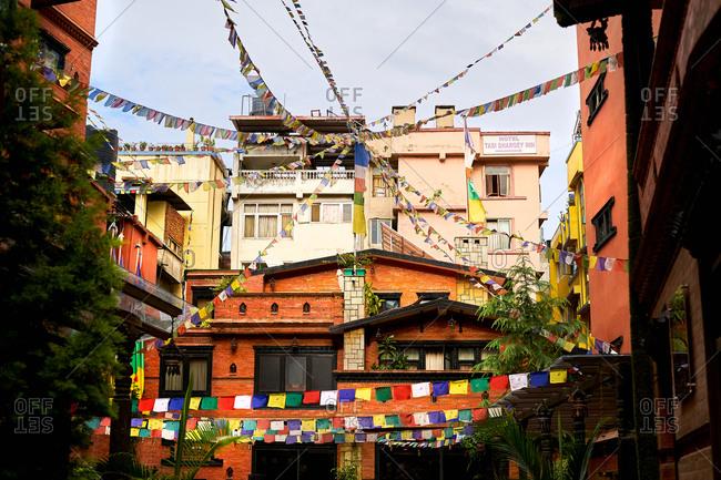 Prayer flags in a courtyard in Kathmandu, Nepal
