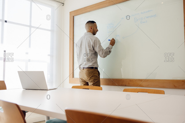 Rear view of young businessman writing on whiteboard in boardroom
