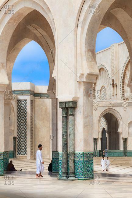Casablanca, Morocco - July 19, 2013: Hassan II Mosque in Casablanca, the largest mosque in Morocco, Al-Magreb