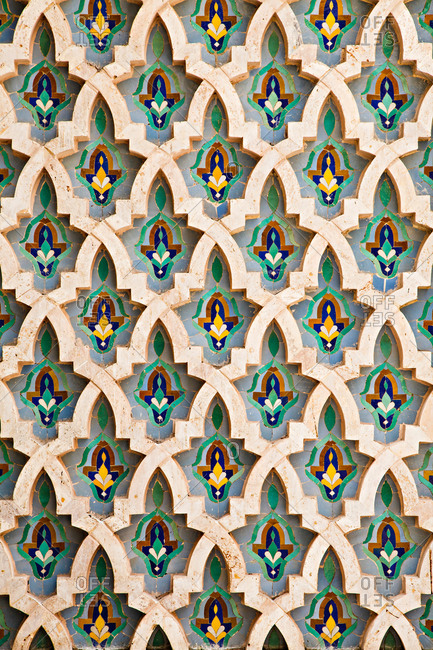Casablanca, Morocco - July 19, 2013: Detail of Hassan II Mosque, Al-Magreb