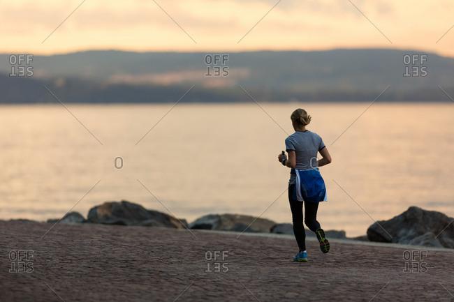 Runner on the waterfront of Trieste, Friuli Venezia Giulia