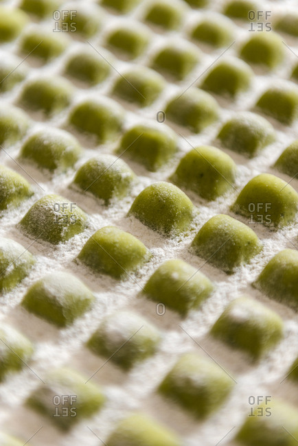 Close up of Nicoise raviolis